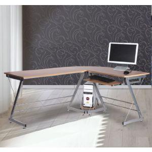 Homcom Bureau d'angle pour ordinateur et meuble table de travail avec plateau en bois