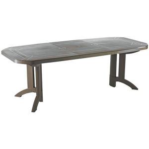 Grosfillex Vega - Table de jardin ovale avec allonge en résine 165/220 x 100 x 72 cm