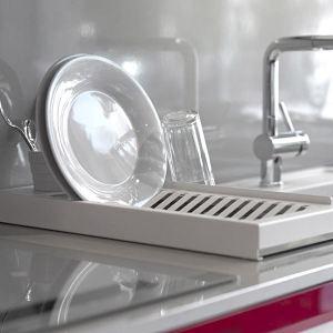 Don hierro Egouttoir à vaisselle Aqua en acier et porte couverts en porcelaine