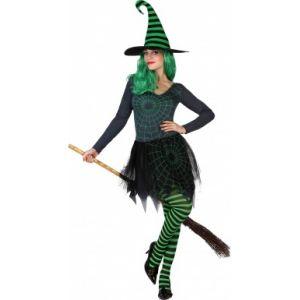 Atosa Déguisement sorcière toile araignée verte femme Halloween