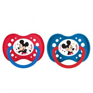 Dodie 2 sucettes anatomiques Mickey silicone 18 mois +