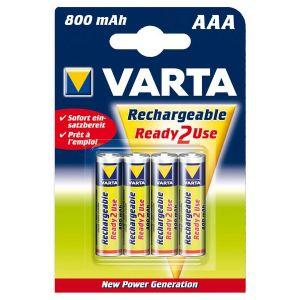 Varta 56703-101-404 - Blister de 4 batteries rechargeables AAA/HR03 Ni-MH Micro 800 mAh 1,2 volt