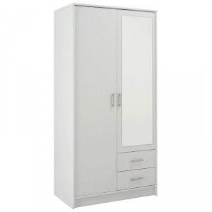 Armoire 2 portes et 2 tiroirs avec miroir