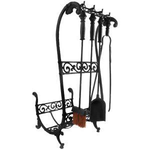 Esschert design Porte-bûches avec outils de cheminée