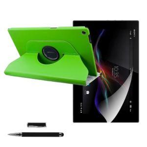 Kwmobile 17104 - Housse en cuir 360° Premium avec fonction support, film de protection et stylet pour Sony Xperia Tablet Z