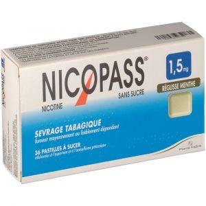 Pierre Fabre Nicopass Réglisse Menthe s/s 1,5 mg - 36 Pastilles