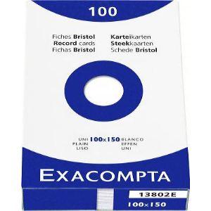 Exacompta 13302E - Etui de 100 fiches bristol 205 g uni non perforées (100 x 150 mm)