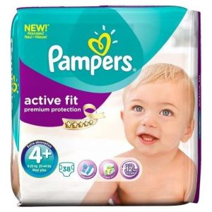 Pampers Active Fit taille 4+ Maxi+ 9-20 kg - Géant x38 couches