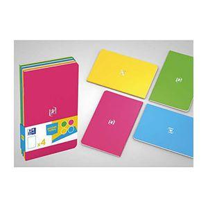Oxford Pocket Notes agrafé - couverture carte - 9 x 14 cm - 48 pages - ligné 6 mm - assortis fun - lot de 4