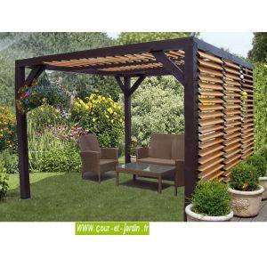 Habrita Ombra - Pergola en bois à vantelles sur le côté et toit 10,81 m2