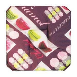 Galette de chaise matelassée à rabats Macarons (35 x 35 cm)