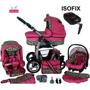 Chilly Kids Dino Isofix - Poussette combinée avec siège auto, chancelière et parasol