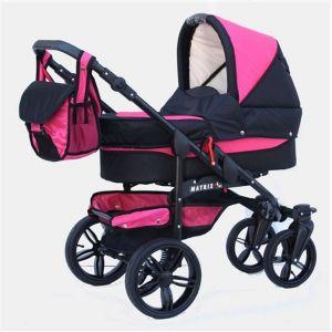 Chilly Kids Matrix Tiger Isofix - Poussette combinée 3 en 1 avec nacelle, siège auto groupe 0+ et sac à langer
