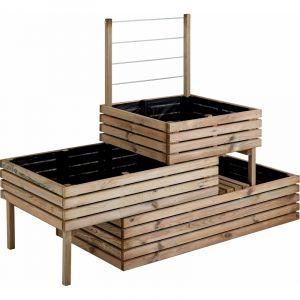 Jardipolys Carrée de potager en bois traité 3 étage Küb