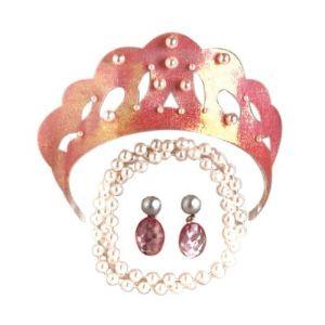 César Parure rose avec diadème, collier et boucles d'oreilles