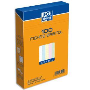Oxford Etui de 100 fiches bristol 224 g petit carreaux non perforées (125 x 200 mm)