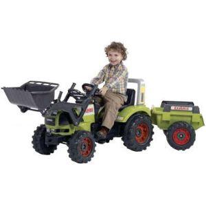 Falk / falquet Tracteur à pédales Claas Atles avec pelle et remorque