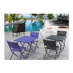 DCB Factory Table de jardin en résine tressée avec 2 chaises pliantes