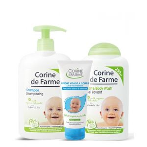 Corine de Farme Shampooing très doux, gel lavant surgras et crème visage ultra nourrissante