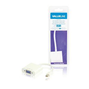 Valueline VLMB37850W02 - Câble adaptateur mini DisplayPort mâle vers VGA femelle blanc 0,20 m