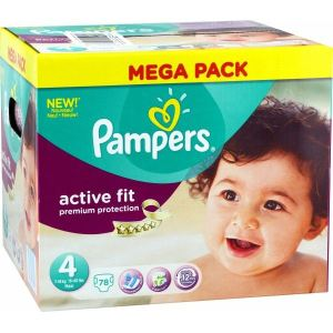 Pampers Active Fit taille 4 Maxi 7-18 kg - Mega pack 78 couches