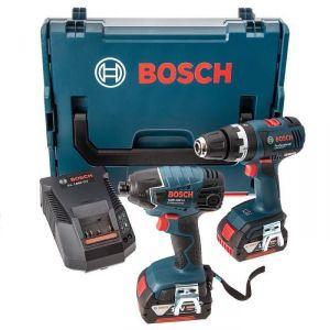 Bosch Professional GSB18V-EC + GDR18V-LI - Perceuse à percussion et visseuse à chocs 2x 18V 4Ah Li-ion + coffret L-boxx