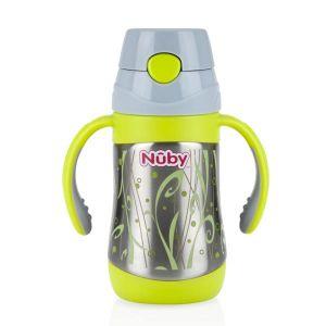 Nûby ID10279 - Gourde thermos avec anses et paille souple 280 ml