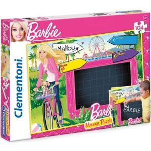 Clementoni Puzzle Message : Barbie en vélo à Malibu 104 pièces