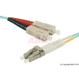 MCAD Cordon fibre optique AQUA duplex OM3 en 50/125um SC vers LC 30m