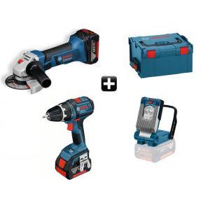 Bosch 0615990G12 - Kit 3 outils sans fil GSR 18 V-LI + GWS 18-125 V-LI + GLI + Coffret L-BOXX 2 batteries Li-Ion 4,0 Ah