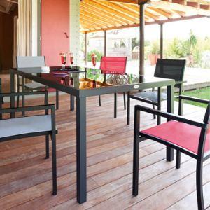 Hesperide Table de jardin rectangulaire Montezalo en aluminium et plateau en verre 210 x 100 x 73 cm