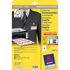 Avery-Zweckform Boîte de 200 bristols microperforés pour badges 5,4 x 9 cm (A4)
