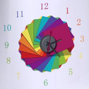 Horloge murale sticker Design Arc en Ciel
