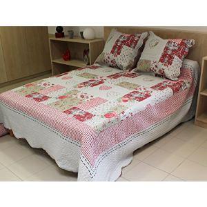 Soleil d'Ocre Couvre-lit boutis matelassé Sorgues avec 2 taies d'oreiller (250 x 260 cm)