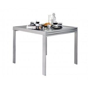 Table Extend avec 2 allonges extensibles en acier et verre (90 x 180 cm)