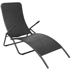 VidaXL Chaise longue pliable en rotin synthétique