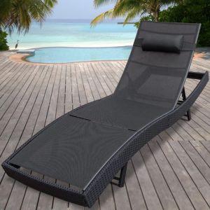 Miadomodo Chaise longue en poly rotin 220 x 70 x 40 cm