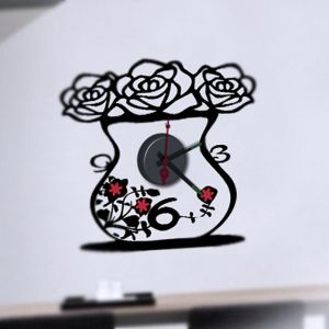 Horloge murale sticker Design Bouquet