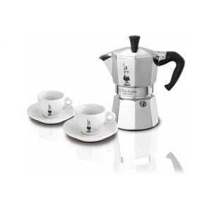 Bialetti 3890 - Coffret cafetière italienne 3 tasses + 2 tasses Moka Omino