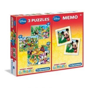 Clementoni 3 puzzles et jeu de mémo Mickey