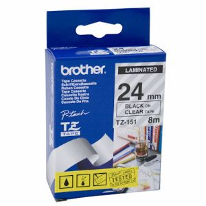 Brother TZe-151 - Ruban laminé noir sur transparent 24 mm.