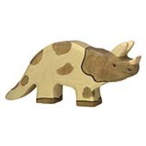 Holztiger Figurine dinosaure : Tricératops en bois