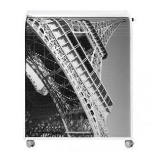 Meuble informatique à roulettes rideau imprimé Paris