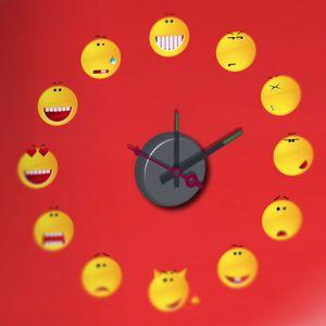 Horloge murale sticker Design Smiley