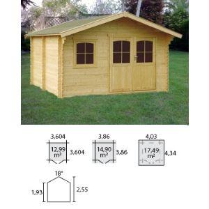 Decor et jardin 76555SZ00 - Abri de jardin en bois massif 34 mm 14,90 m2 (porte double)