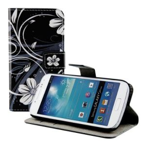 Kwmobile 16574 - Etui en cuir motif Fleurs / Papillons pour Samsung Galaxy S4 Mini I9190 et I9195