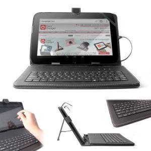 """Duragadget Etui aspect cuir avec clavier intégré, port de maintien et stylet pour tablette Google Nexus 10 et Hannspree Hannspad 10,1"""""""