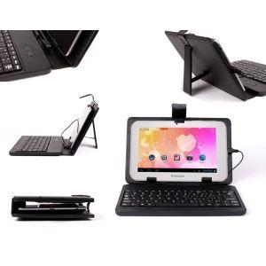 """Duragadget Etui aspect cuir avec clavier intégré, port de maintien et stylet pour tablette Polaroid Rainbow 7"""" et Point Of View Mobil Playtab Pro"""
