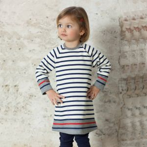 Petit Bateau Robe fille manches longues en tricot (3 mois)