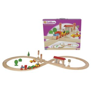 Eichhorn Circuit de train en huit en bois 35 pièces